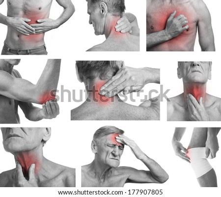 Collage with senior man showing pain at several part of body - stock photo