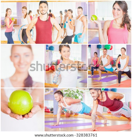 Collage with several photos of happy group of people doing sports - fitness, exercise, pilates, gym, stretching. Sports activities improve beautiful, healthy body, character! Healthy lifestyle concept - stock photo