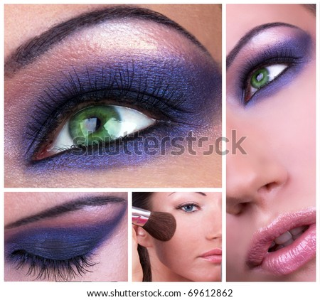 Collage with smoky eyes make-up - stock photo