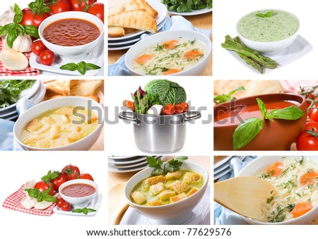 collage with soup - stock photo