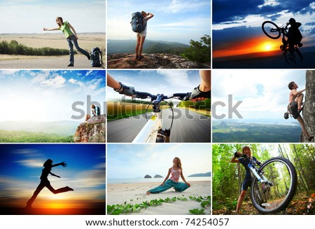Collage with sport and travel theme. Hiking, cycling, climbing - stock photo