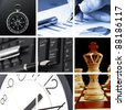 collage with success business and financial images - stock photo