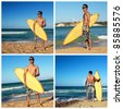 Collage with surfer holding surf board on caribbean beach, Dominican Republic - stock photo