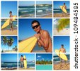 Collage with surfer with surf board on Atlantic ocean, Dominican Republic - stock photo