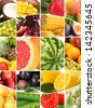 Collage with tasty  fruits and vegetables - stock photo