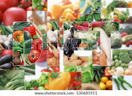 Collage with tasty fruits and vegetables. diet concept