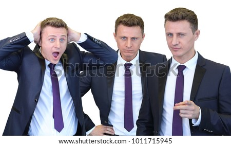 Collage with three businessman with distrustful look pointing at camera, with hands on hips, frightened businessman clutched his head isolated on white