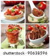 collage with tomato salad, chutney and bruschetta - stock photo
