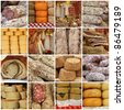 collage with traditional typical  italian sausages and cheese on tuscan farmer market, Italy, Europe - stock photo