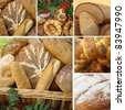 collage with variety of bread, Poland - stock photo