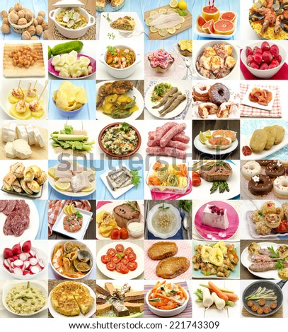 Collage with variety of food and dishes cooked