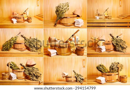 collage with various sauna accessories - stock photo