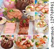 collage with various traditional dishes for polish easter breakfast - stock photo