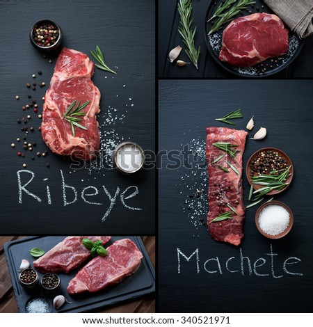 Collage with various types of raw beef steaks: ribeye, machete and striploin. Studio shot, selective focus - stock photo