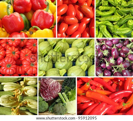 collage with vegetables - stock photo