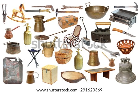 collage with very old objects isolated  over white background  - stock photo