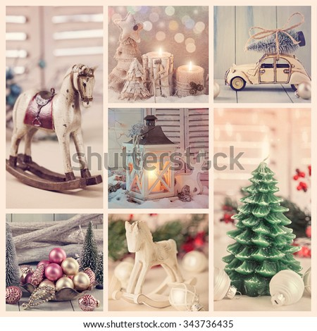 Collage with vintage christmas decoration  - stock photo