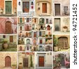 collage with vintage doors in Italy - stock photo