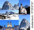 collage with winter scenery of Dolomites Alps and towns, Italy - stock photo