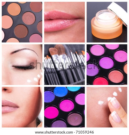 Collage with woman and make-up tools - stock photo