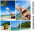 Collage with woman in bikini near palm on caribbean beach - stock photo