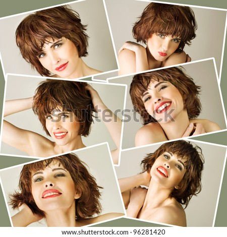 Collage with young beautiful woman with brown short hairs - stock photo