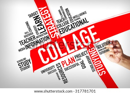 COLLAGE word cloud, education concept - stock photo