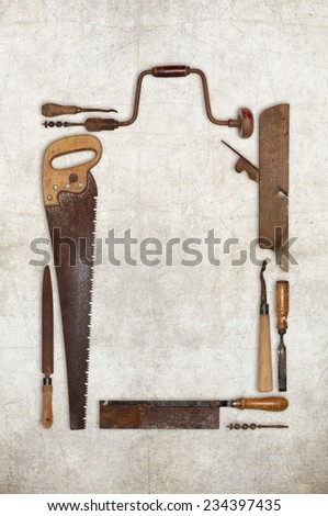 collage work wood tools carpenter forming a frame  - stock photo