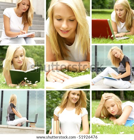 Collage. Young female student prepares for the exam. - stock photo