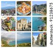 Collages of images of Taormina in Sicily. Images of monuments (greek theatre, cathedral), nature (beach, etna), shops and typical food - stock photo