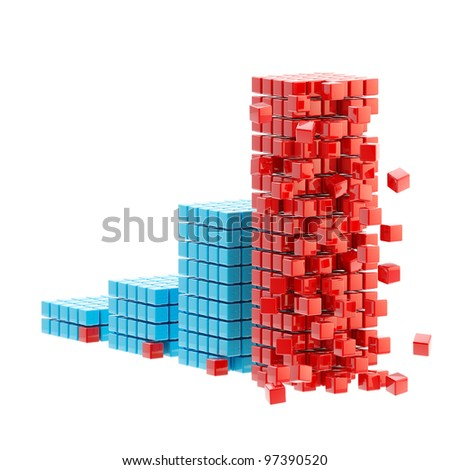 Collapse and economy crisis: ruined growing bar graph made of cubes isolated on white