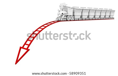 Collapse of business. The train goes to the bottom of a red rails. - stock photo