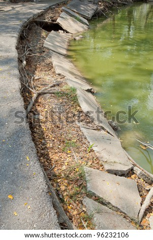 collapse of concrete bank - stock photo