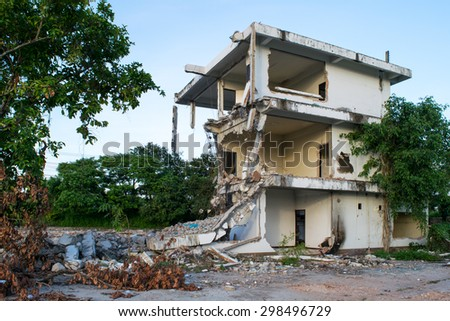 Collapsed buildings - stock photo