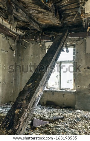 Collapsed ceiling in the old Masonic building in Gdansk, Poland - stock photo