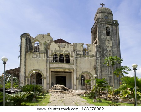 Collapsed church in Bohol. Earthquake in October 2013 - stock photo