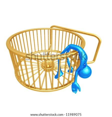 Collapsed Hamster Wheel Runner - stock photo