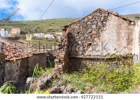 Collapsed stone house in the village Arure on the island La Gomera. Arure is a hamlet and part of the Valle Gran Rey but situated outside the valley. Agriculture is the main yield of the population - stock photo
