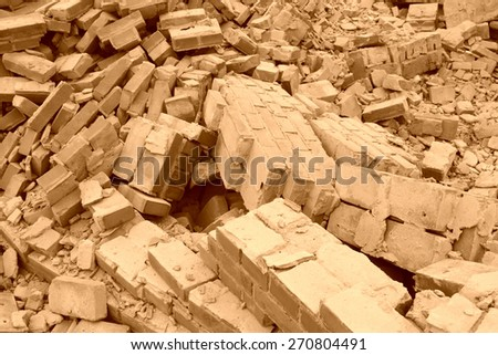 collapsed walls in the demolition site - stock photo