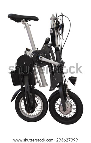 collapsible bicycle isolated under the white background - stock photo