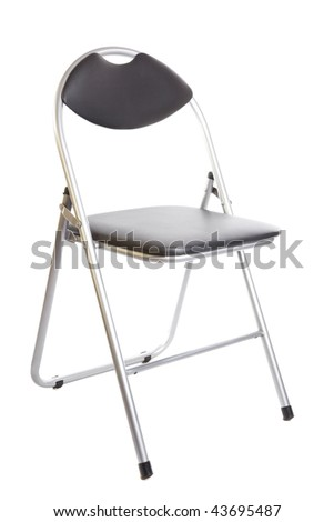 Collapsible Black Metal Chair Isolated On White Background