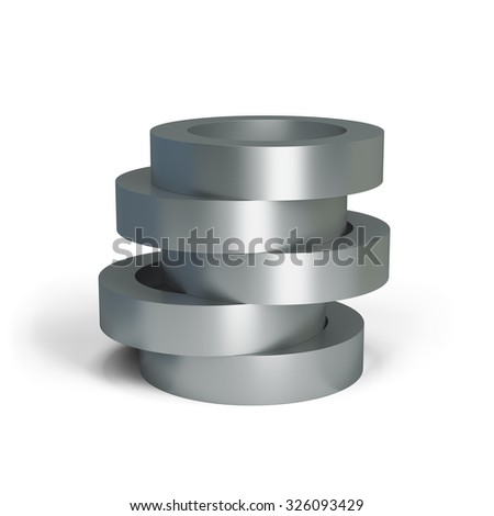 Collapsible metal cylinder. 3d image. White background.