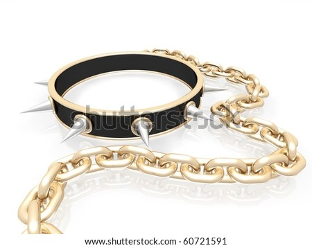 collar with spikes on golden chain - stock photo