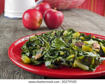 Collard greens and bacon - stock photo