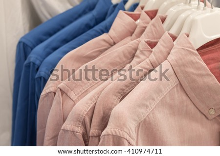 collared shirts with hung suspended - stock photo