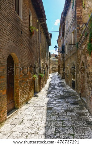 COLLE DI VAL D'ELSA, ITALY - 16 AUGUST 2014 - This medieval town in Tuscany region is internationally renowned for the production of crystal glassware and art, even 15 percent of world production.