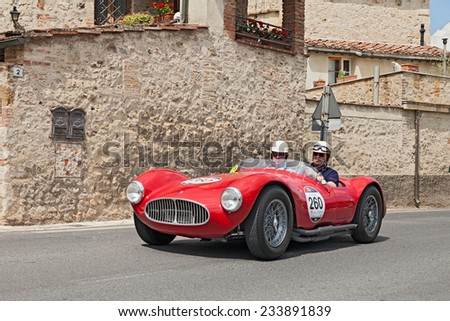 COLLE DI VAL D'ELSA, SI, ITALY - MAY 17: J. De Reu - P. De Smet on a vintage racing car Maserati A6 GCS/53 Fantuzzi (1953) in race Mille Miglia, on May 17, 2014 in Colle di Val d'Elsa, Tuscany, Italy  - stock photo