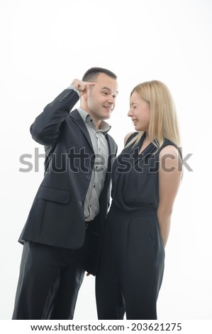Colleagues arguing, boss shouting and pointing at crying young attractive woman, isolated on white - stock photo