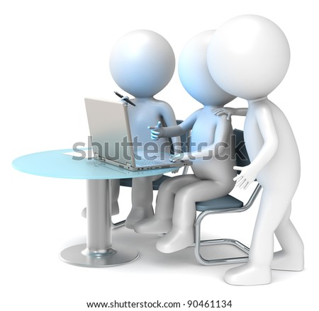 Colleagues. 3D little human characters X3 looking at a Laptop Screen. Business People series. - stock photo
