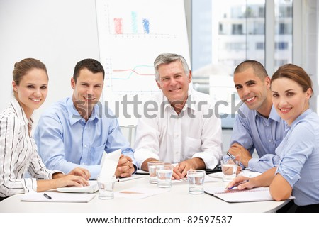 Colleagues in business meeting - stock photo